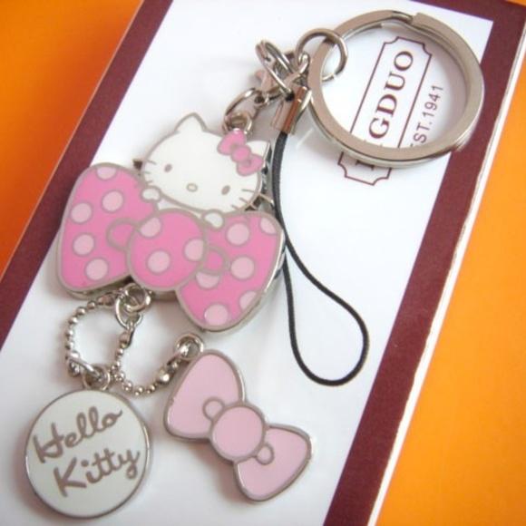 5e1688617 Sanrio Accessories | Hello Kitty Key Chain Pink Bow Charms | Poshmark
